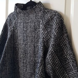Zara Houndstooth Tweed High Neck Top